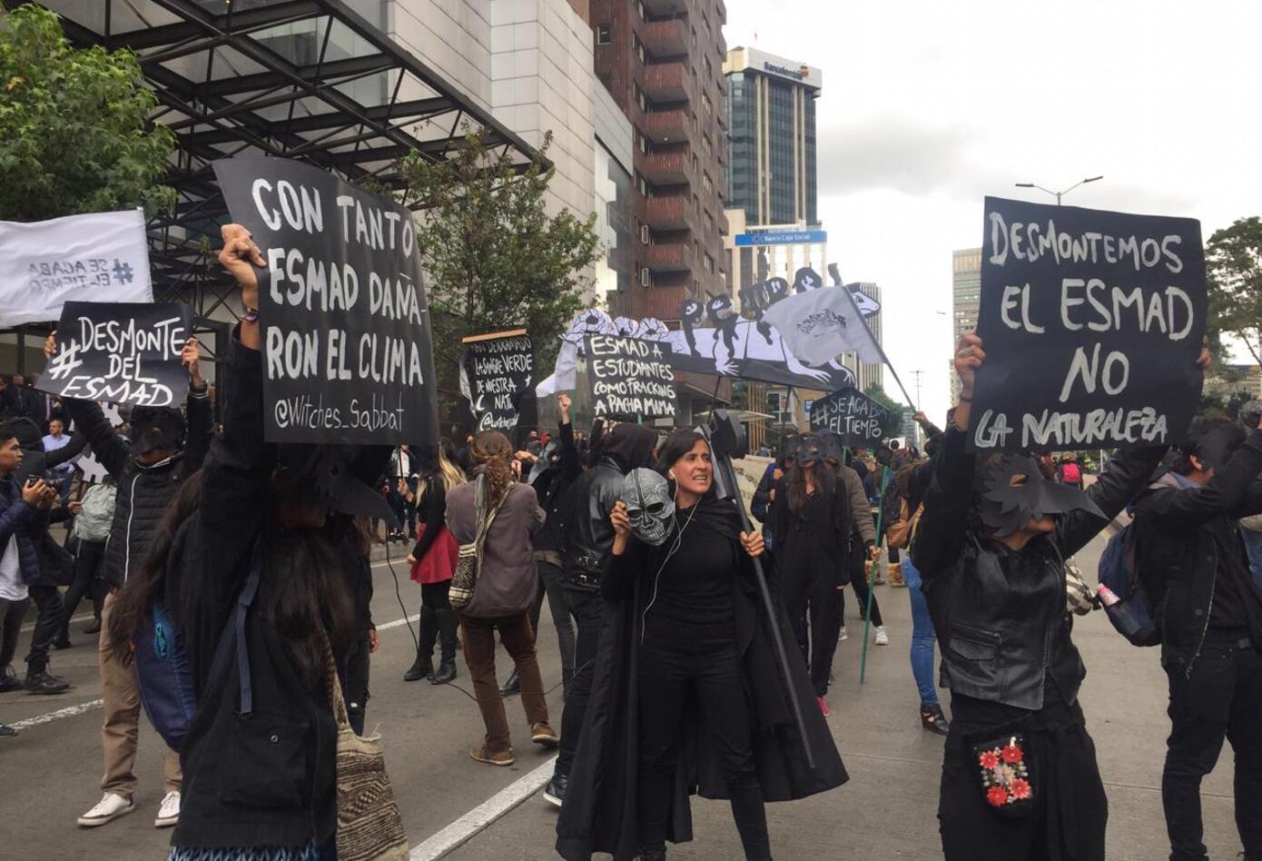 Estudiantes se unieron para protestar en Bogotá.