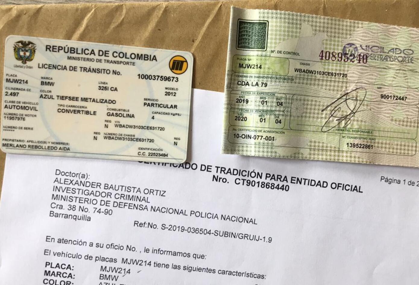 Documentos analizados por las autoridades, relacionado con Aida Merlano