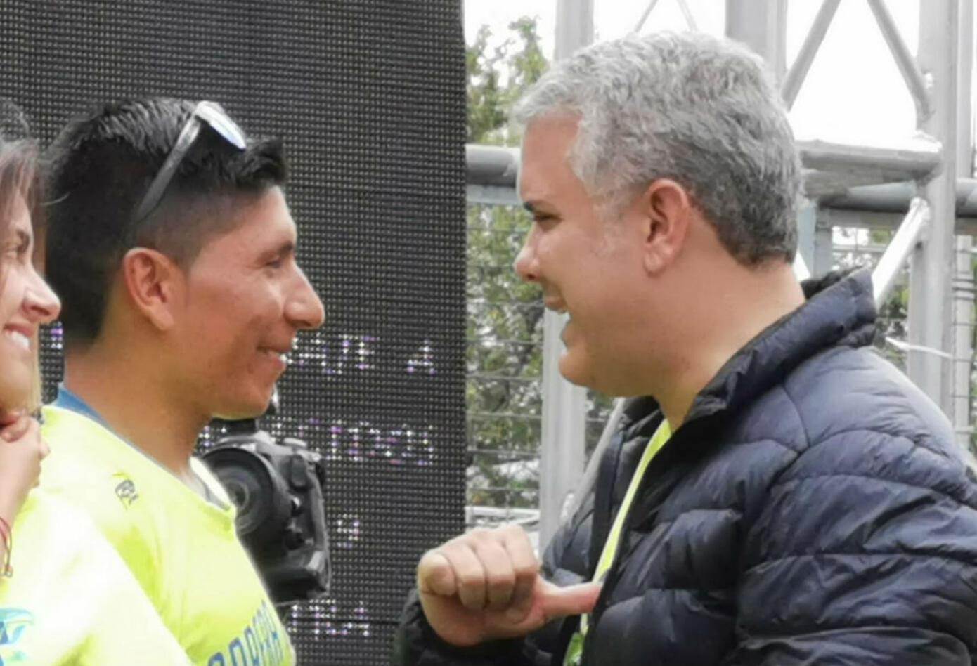 Iván Duque y Nairo Quintana en la Carrera 10k de la Policía Nacional