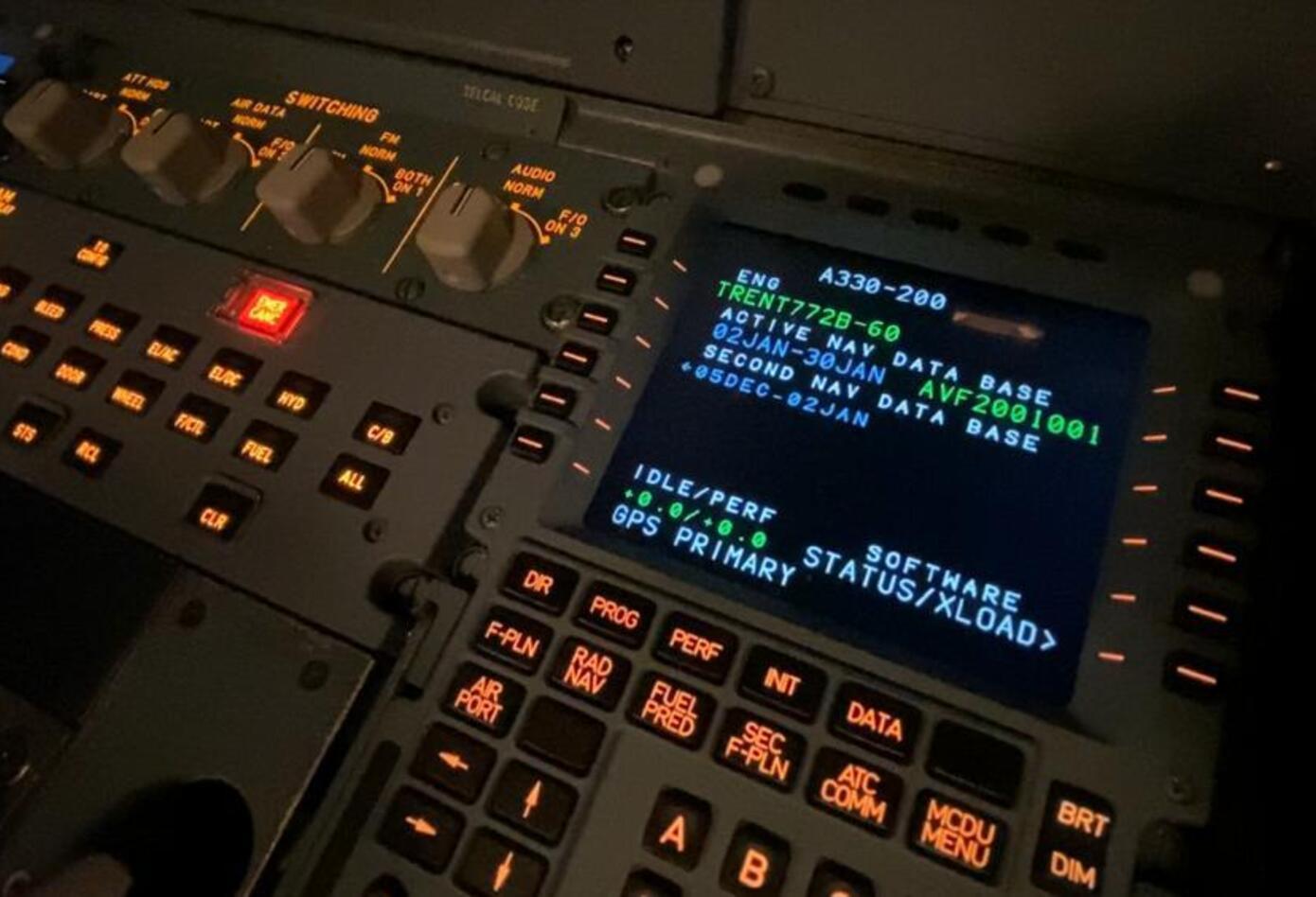 Cabina de un avión simulador