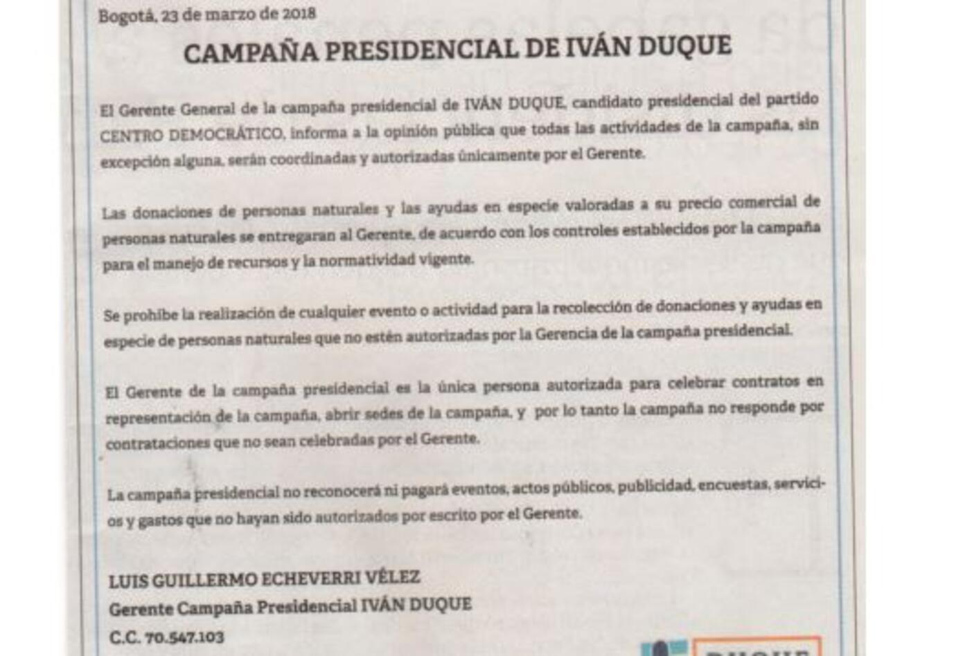 Campaña Duque Presidente