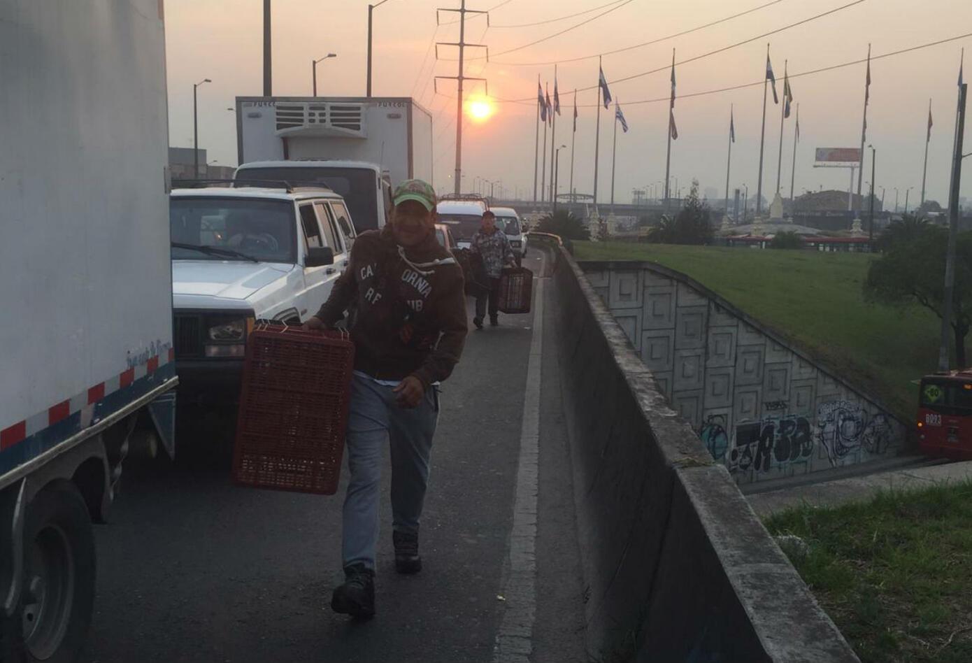Trancon cerca a Corabastos en Bogotá
