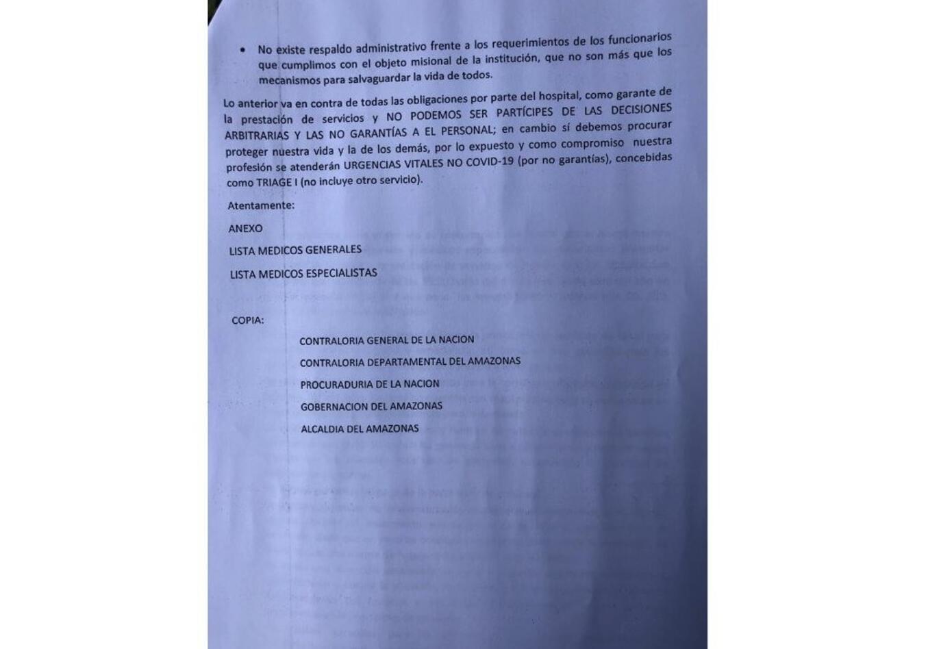 Carta de renuncia médico en Leticia