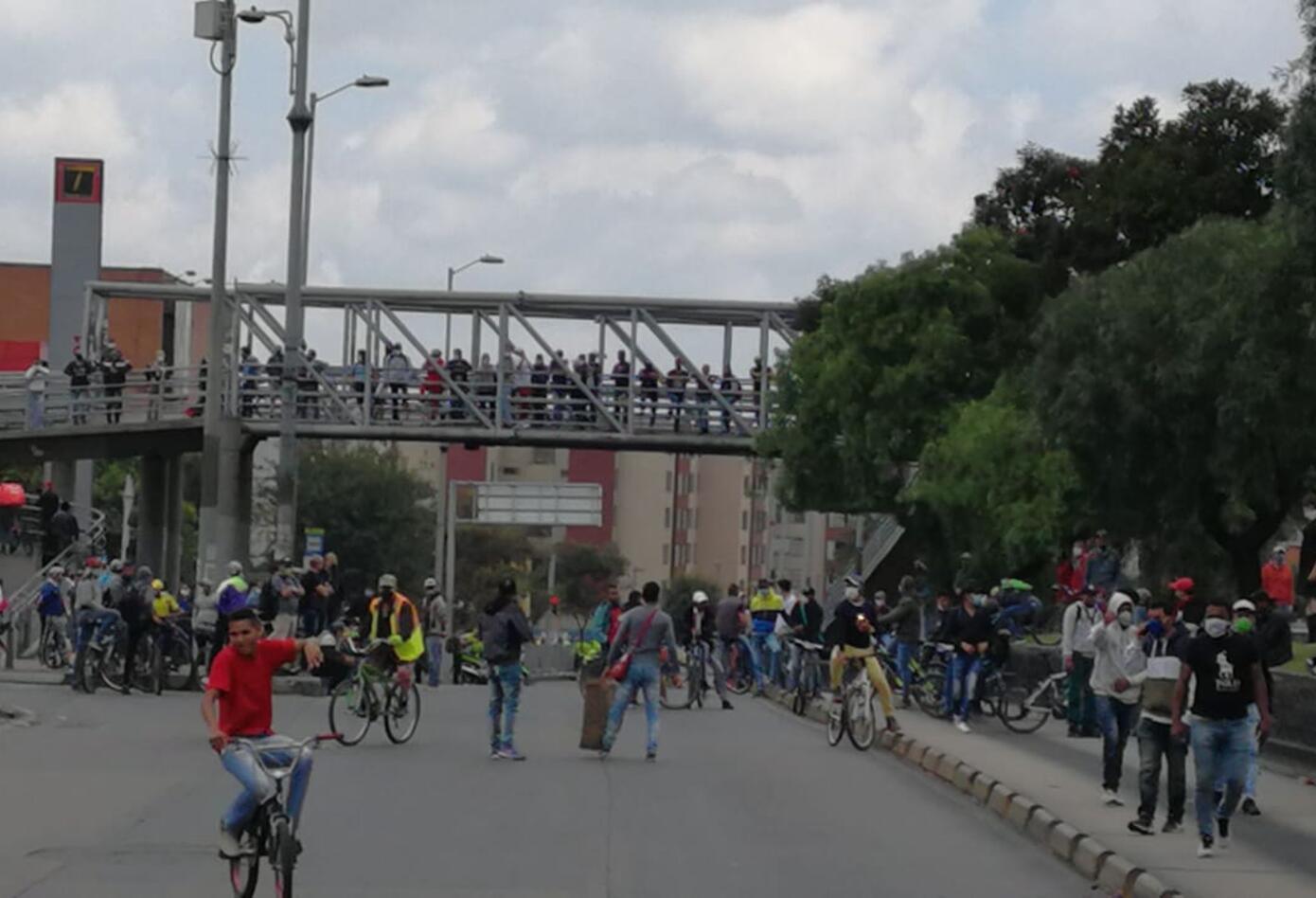 Así están las protestas en Suba en medio de la cuarentena.