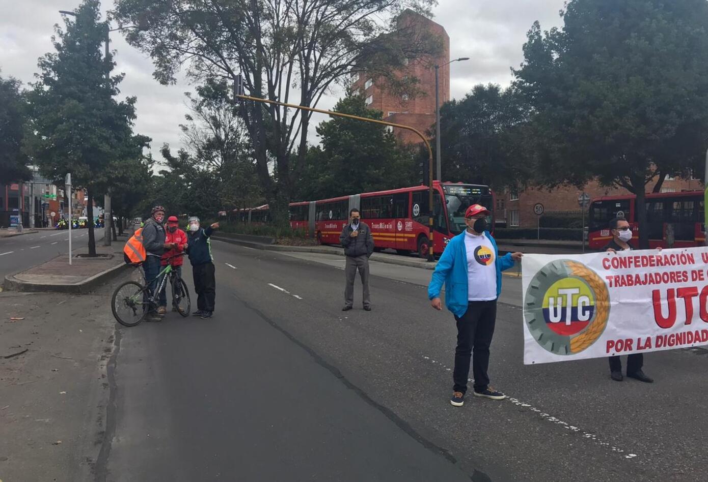 Protesta de conductores de Transmilenio en medio de cuarentena