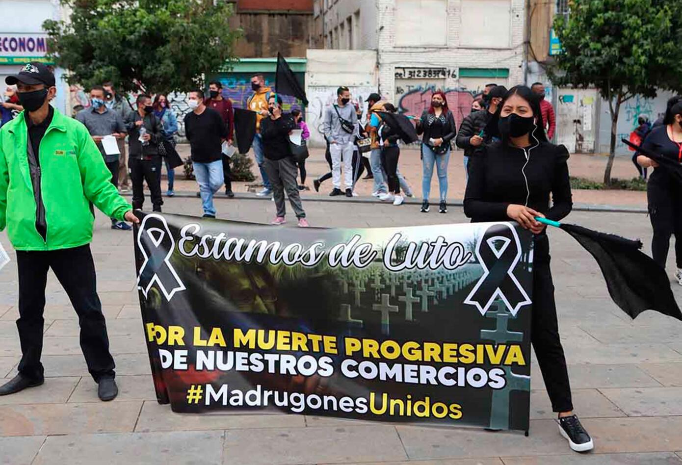 Comerciantes de San Victorino protestan ante la cuarentena