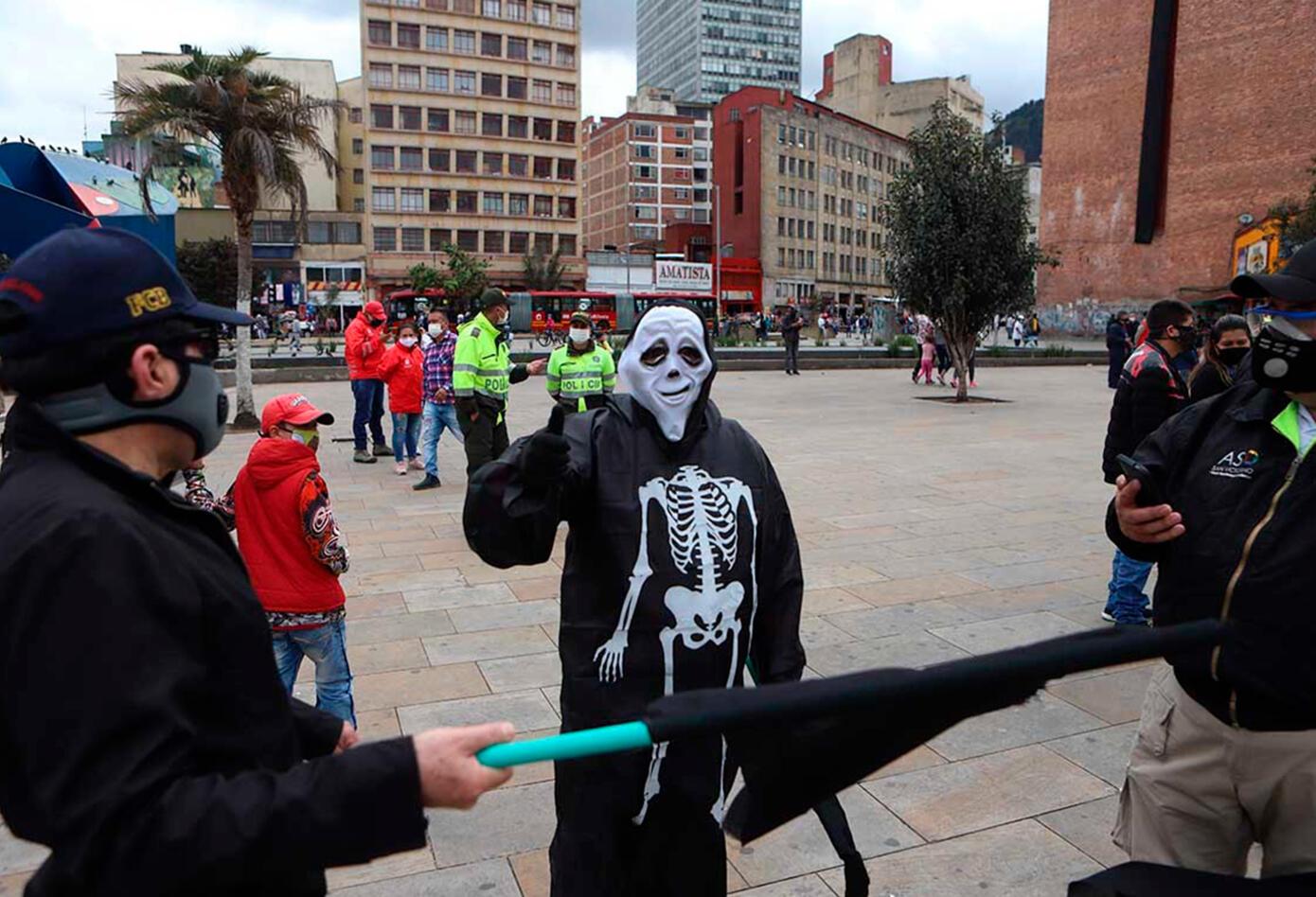 Comerciantes de San Victorino protestan contra cuarentena
