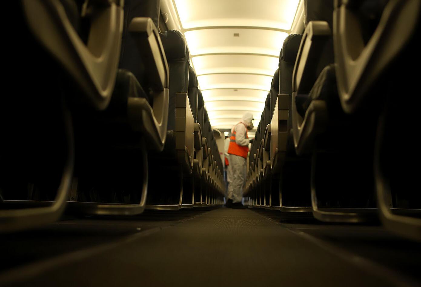 Desinfección de avión