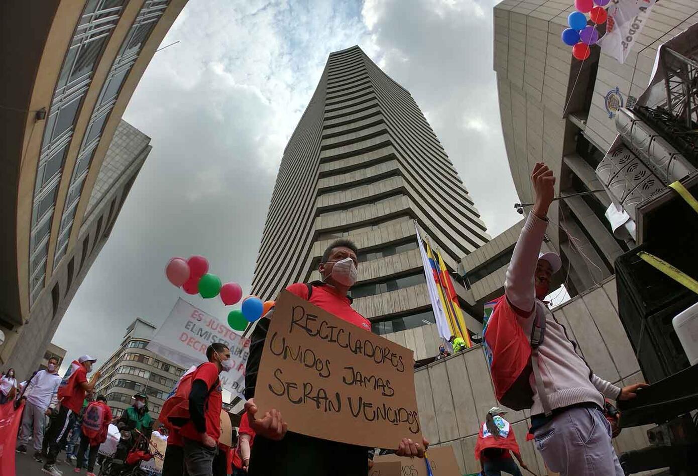 Recicladores protestan en Bogotá