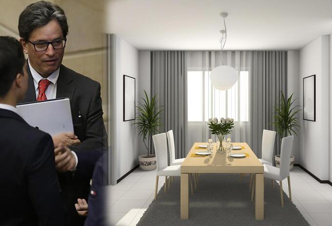 El ministro Alberto Carrasquilla (izq) y el interior de un apartamento (der-ilustración)