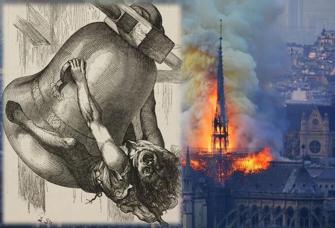 Quasiomodo, de la novela 'Nuestra Señora de París' de Víctor Hugo, y la Catedral de Notre-Dame en llamas
