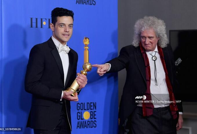 Rami Malek y el guitarrista de Queen, Brian May