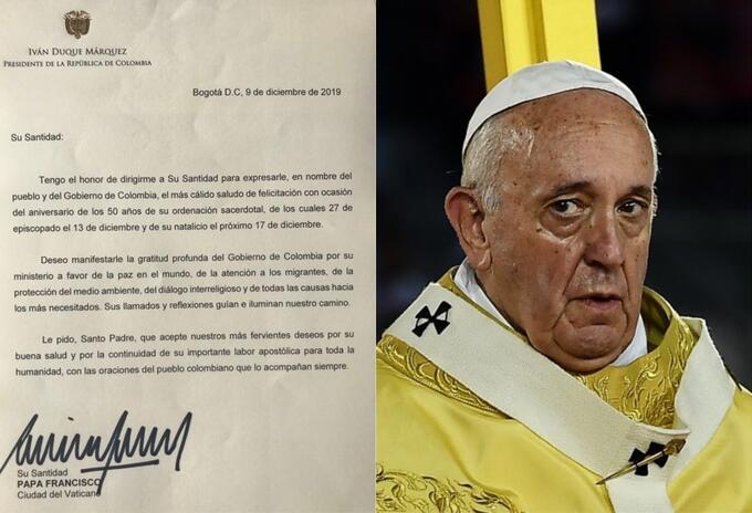 Carta del presidente Iván Duque al papa Francisco