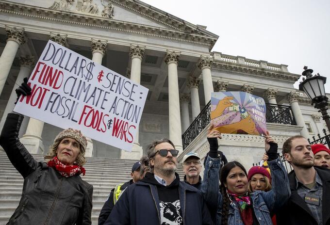 Joaquin Phoenix en protesta contra el cambio climático