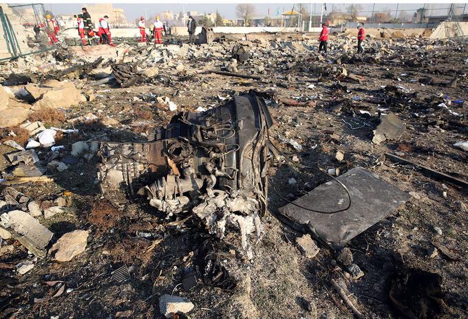 Así quedó el avión ucraniano derribado en Irán