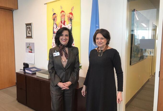 Canciller Claudia Blum y la Secretaria Adjunta de la ONU, Rosemary Dicarlo.
