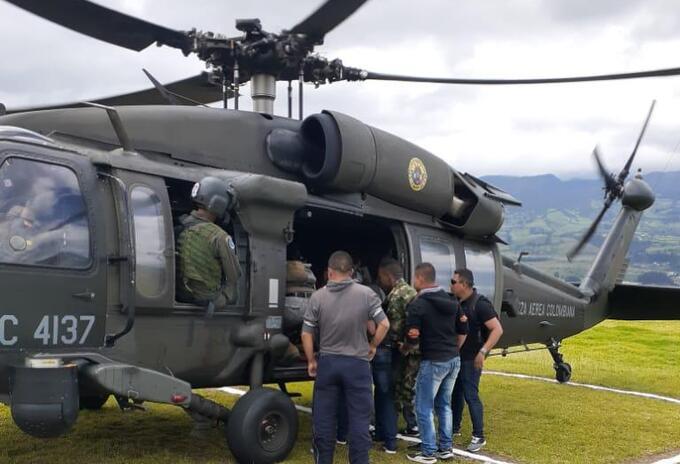 Hast la ciudad de Pasto fue trasladado en un helicóptero de la Fuerza aérea, el soldado herido
