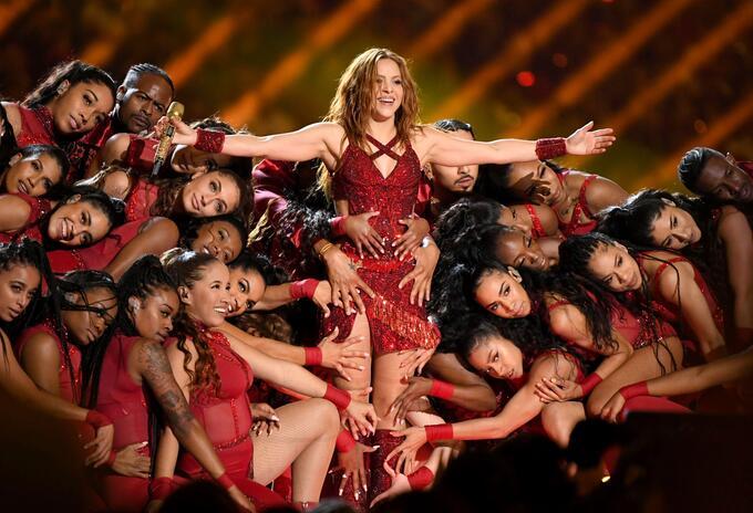 Shakira, durante su presentación en el intermedio del súper bowl