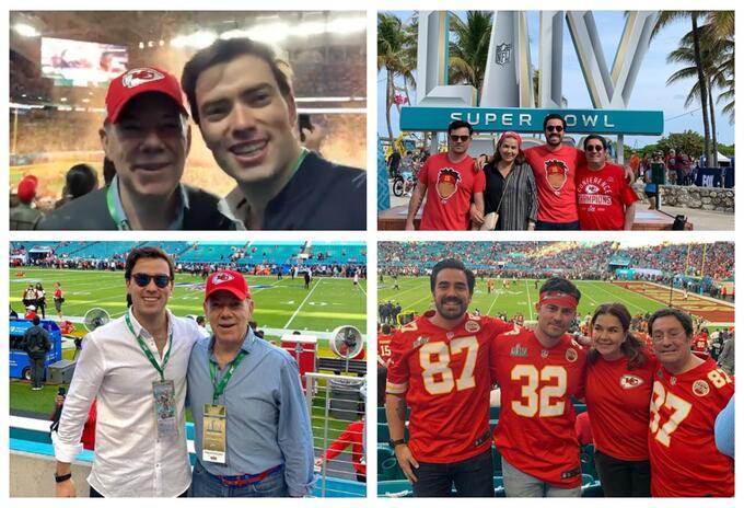 Pacho Santos y Juan Manuel Santos Super Bowl
