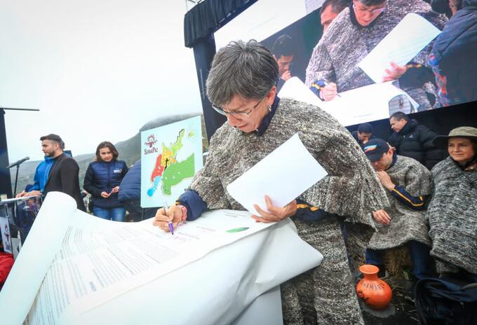 Alcaldesa de Bogotá, Claudia López, en la localidad de Sumapaz