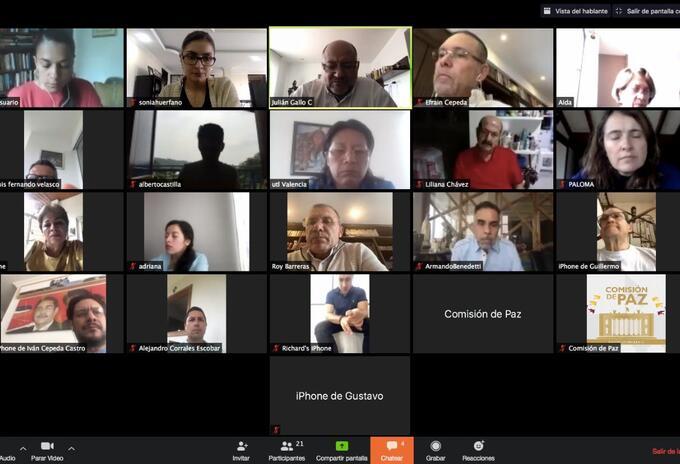 Comisión de Paz sesiones virtuales