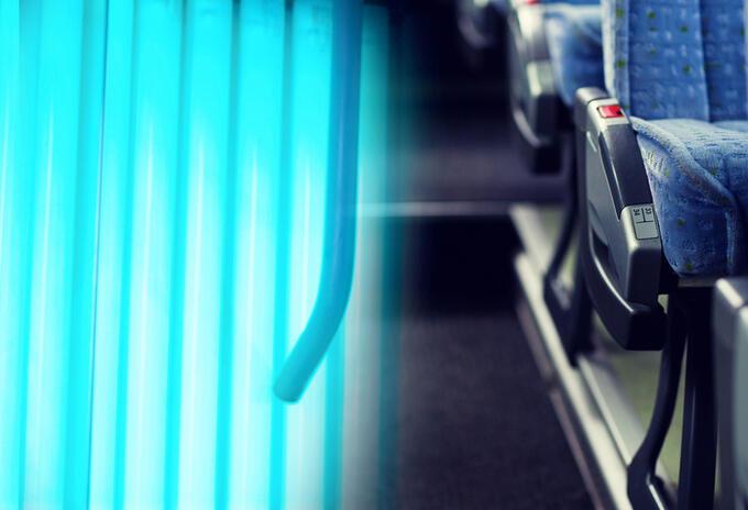 Luz ultra violeta para limpiar buses