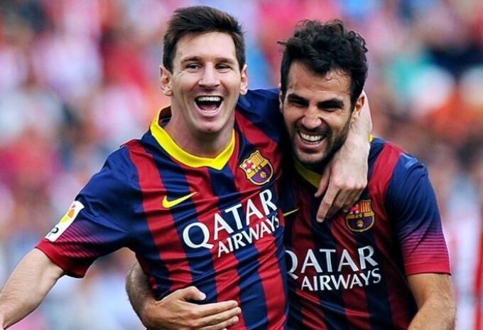 Messi y Cesc Fabregas en el Barcelona