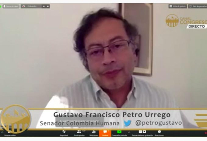 Gustavo Petro en sesion virtual del Senado