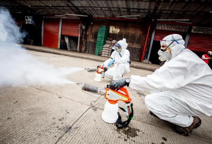 Desinfección de Corabastos, en Bogotá, por coronavirus.