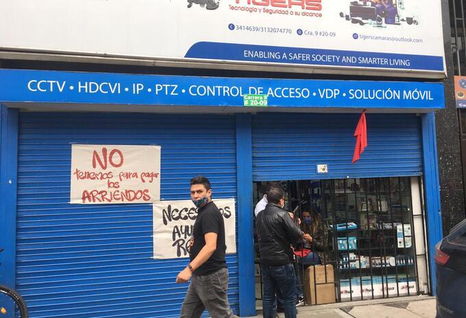 Comerciantes del centro de Bogotá.