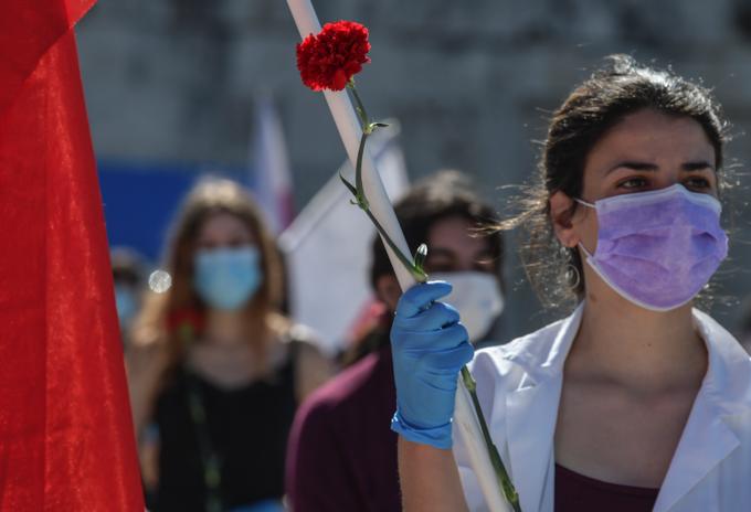 Sindicalistas en Grecia salieron a manifestarse en el Día de los Trabajadores