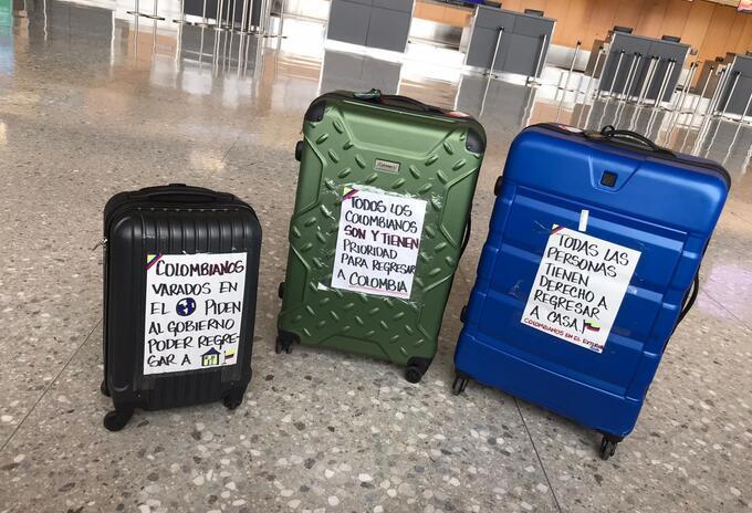 Maletas de colombianos varados en el exterior