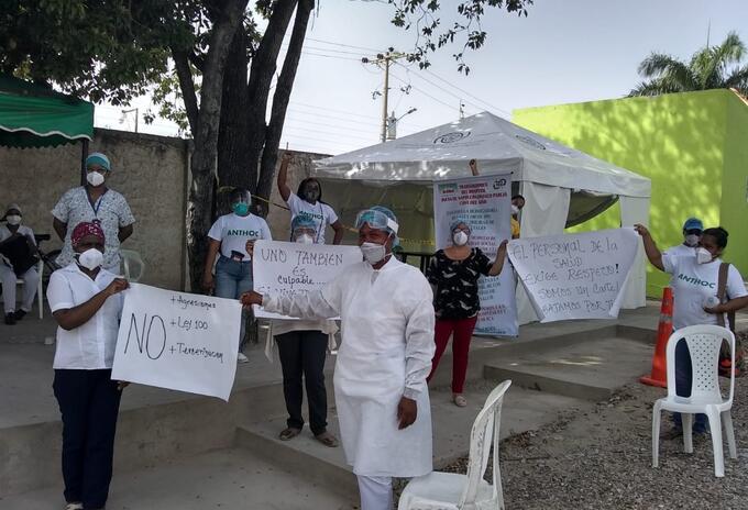 Protesta de médicos en Colombia