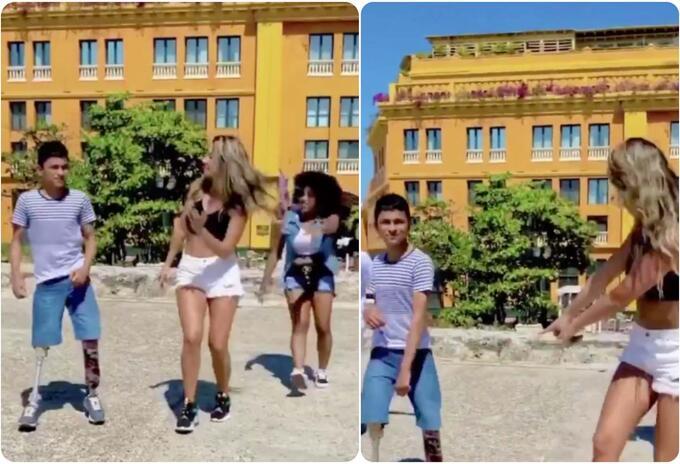 Daniella Álvarez bailando champeta junto a tres jóvenes en Cartagena