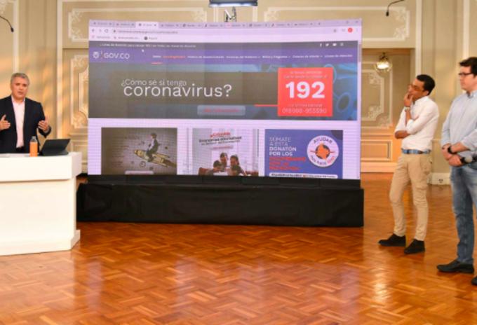 Presidente Iván Duque presentando CoronApp