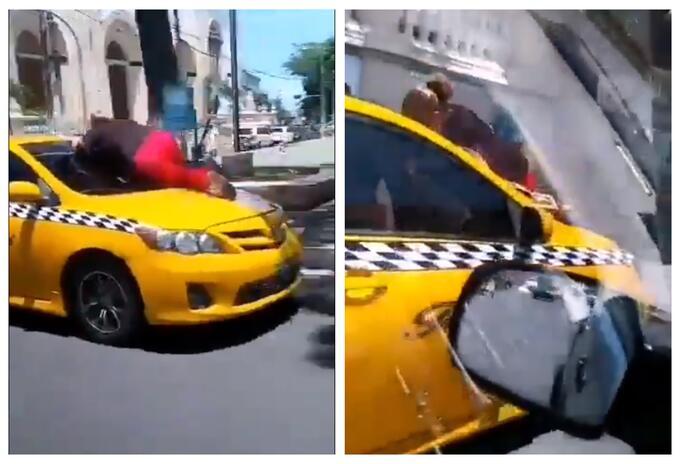 Mujer se lanzó al capó de taxi en El Salvador