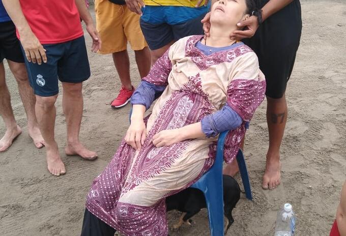 Mujer rescatada en Puerto Colombia