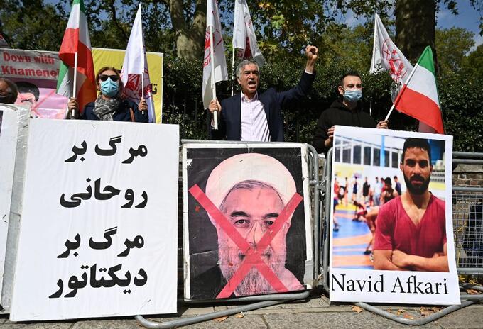 Protestas en Londres por la ejecución de Navid Afkarí