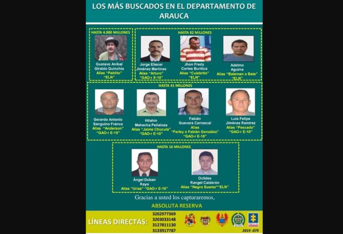 Cartel de los más buscado en Arauca