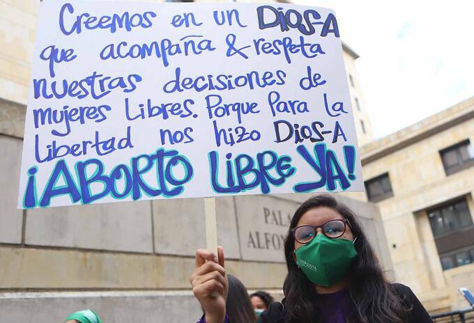 Protesta a favor del aborto en Colombia