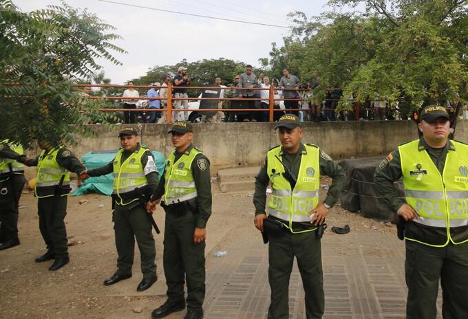 Agentes de la policía colombiana en la ciudad de Cúcuta.