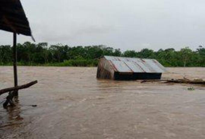 Las viviendas de madera quedaron casi que inundadas en su totalidad en Vigía del Fuerte.