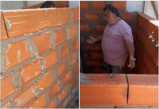 Reacción de albañil tras construir habitación sin puerta