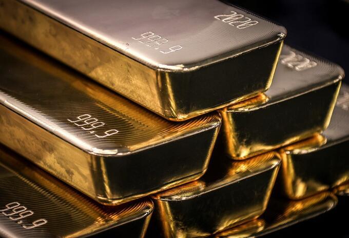 Barras de lingotes de oro.