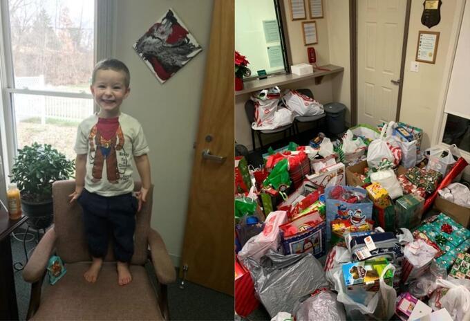 Niño abandonado recibe regalos