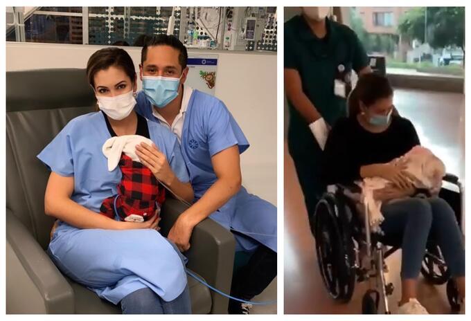 Nanis Ochoa y su bebé salen de la clínica
