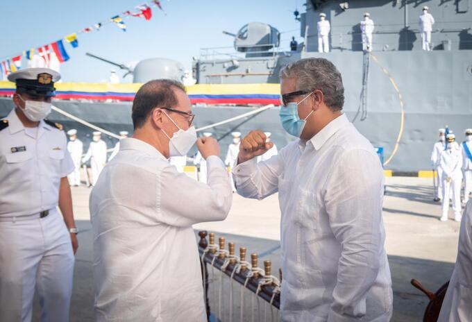 Embajador de Corea del Sur en Colombia y el presidente Iván Duque.