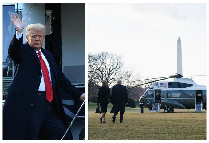 Donald Trump saliendo de la Casa Blanca