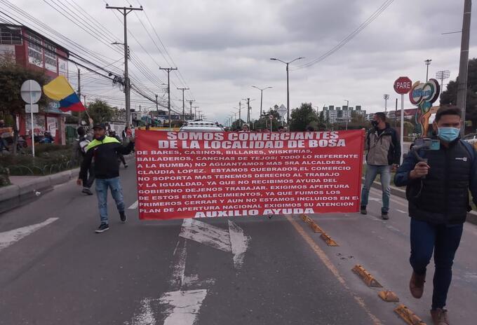 Protesta de propietarios de gastrobares en Bogotá
