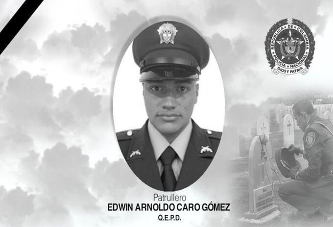 Patrullero Edwin Caro Gómez, asesinado en Bogotá.